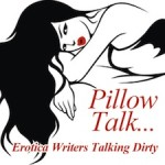 The Pillow Talk...Erotica Writers Talking Dirty logo: black and white image of a cartoon woman with bright red lips on a pillow