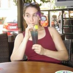 Jade A. Waters sipping a Jelly Bean while on vacation in Rhodes, Greece