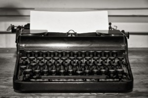 B/W still vintage image of typewriter